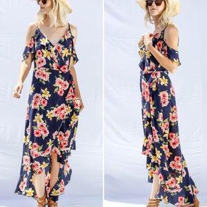 New! S-L Stunning Navy Cold Shoulder Floral Dress